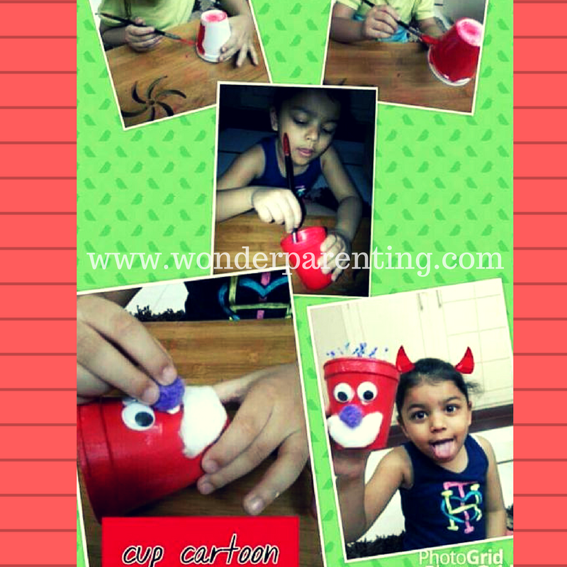 cup cartoon craft ideas for kids-wonderparenting