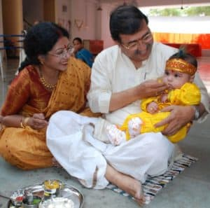 Indian baby Annaprashana