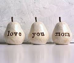Gift for mom, White love you mom pears, Great handmade gift for Mother's Day or Birthday-wonderparenting