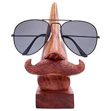 Handmade Wooden Nose Shaped Spectacle Specs Eyeglass Holder Stand-wonderparenting